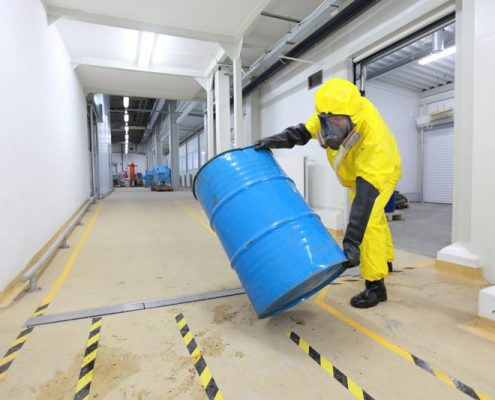 chemical resistant paint on a floor