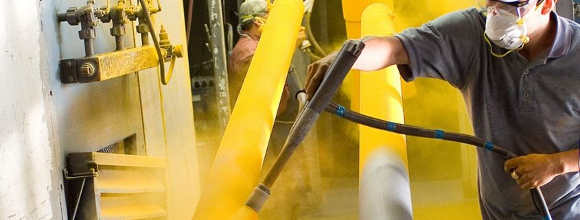 applying electrostatic powder coating on metal structure in Singapore
