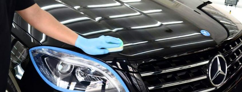 Glass coating applied on black car