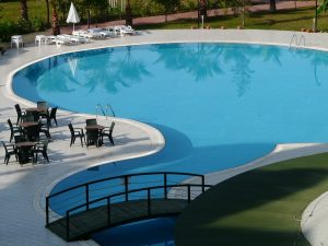 A concrete pool with polyurethane swimming pool paint.