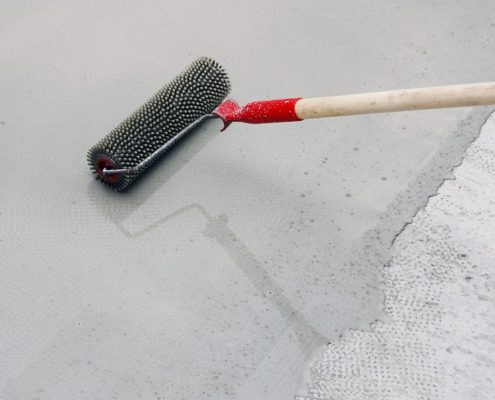 Concrete paint for floor applied with roller