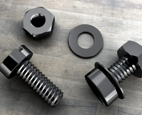Fluoropolymer paint on screws and bolts