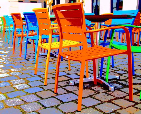 powder coating furniture makes colourful and durable chairs