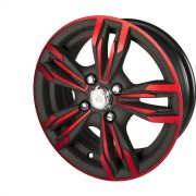 vehicle powder coating on car rim in black and red
